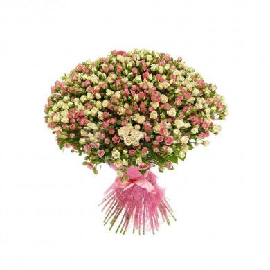 101 розовая кустовая роза нежный микс